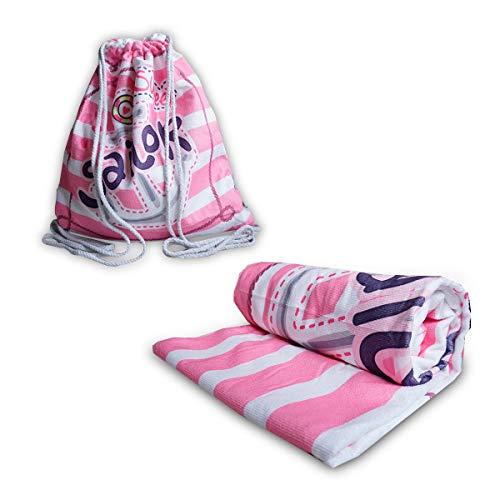 IMAGO Toalla 2 en 1, práctica toalla de playa con función de mochila, toalla de baño para transformar la mochila en 70 cm x 150 cm (ancla)