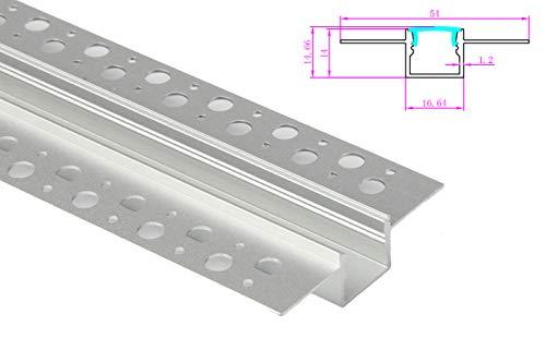LEDLUX Profilo Canalina Barra Alluminio Incasso A Muro Alette Scomparsa Per Bobina Led Fino 12mm Lunghezza 1 Metro