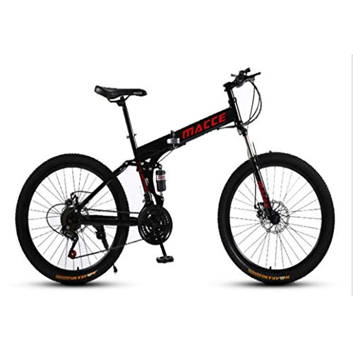 RPOLY 21 de Velocidad Bicicleta de Montaña Plegable, Doble Freno de Disco, Variable Fuera de la Carretera Velocidad de la Bicicleta, al Aire Libre de la Bicicleta,Black_24 Inch