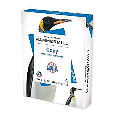 Hammermill 20lb Copy Paper, 8.5 x 11, 1 Ream, 500 Total Sheets, Made in USA, Sustainably Sourced From American Family Tree Farms, 92 Bright, Acid Free, Economical Multipurpose Printer Paper, 180400R