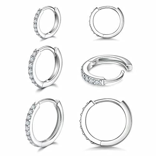 Pendientes de aro pequeños de plata de ley 925 con circonita cúbica, 3 pares de piercings para cartílago, pendientes de aro pequeños para mujeres, niñas, hombres, 8 mm, 10 mm, 12 mm