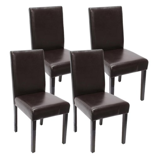 Mendler 4X Esszimmerstuhl Stuhl Küchenstuhl Littau - Kunstleder, braun dunkle Beine