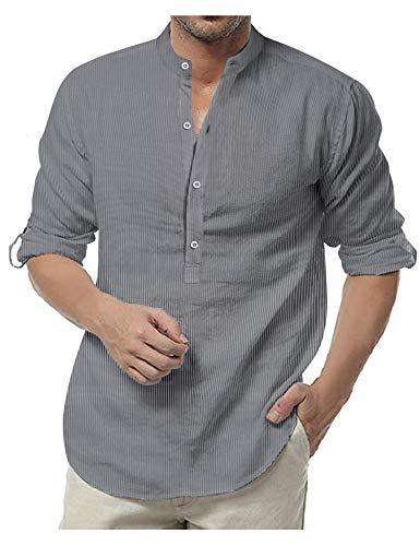 COOFANDY Langarmshirt Herren Streifen-Muster mit Brusttasche Baumwolle Regular Fit Bunt Freizeithemd Herbst Für Männer Grau XL