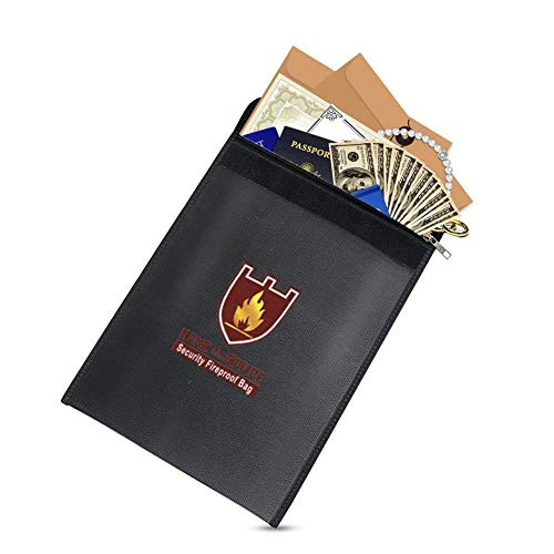 Fireproof Document Bag(15'x 11') Fire Safe Bag Effective Premium Fire&Water Resistant Storage Bag - Zipper enclosure Silicone Coated Perfect for Money/Passport/Legal Documents protection