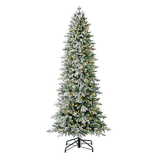 Evergreen Classics 7 ft Pre-Lit Snowy Redwood Pine Artificial Christmas Tree, Remote-Controlled Dimmable LED Lights