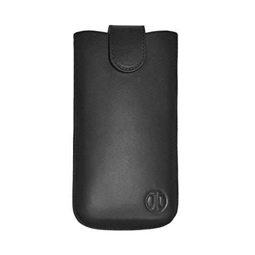 JT Berlin SlimCase Premium Echtledertasche für z.B. Apple iPhone 11, 8 Plus, Samsung Galaxy Note 5 [Größe 3XL, Gürtelschlaufe, Magnetverschluss,