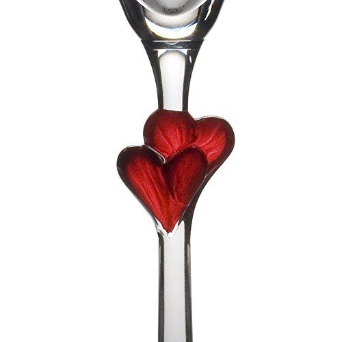 Stölzle Lausitz L´Amour Sektkelche mit roten Herzen, 175ml, 2er Set, spülmaschinenfest, romantisches Sektglas-Duo, hochwertige Qualität, spülmaschinenfest - 2
