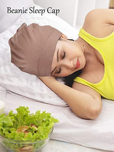 3 Pieces Satin Lined Sleep Cap Slouchy Sleeping Hat Beanie Slap Hat for Women (Black, Green, Khaki)