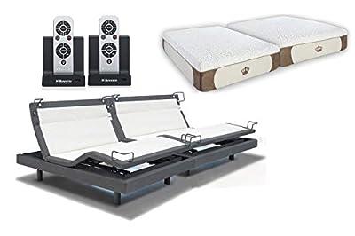 DynastyMattress 12-Inch CoolBreeze Gel Memory Foam Bed with Reverie 8Q Adjustable Base Set Sleep System (Split-Calking)