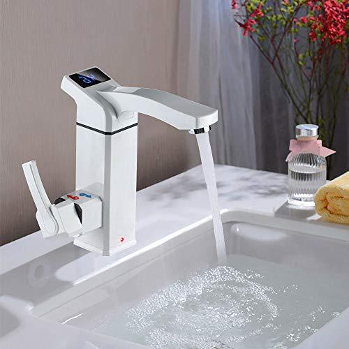 DiLiBee Thermostatischer elektrischer Warmwasserbereiter Schneller Hitze Wasserhahn Sofortigerelektrische Spültisch Wasserhahnfür Küche und Badezimmer 220V / 3000W
