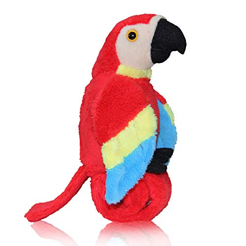 Talking Parrot Plush Toy Repeats What You Say, Slap Bracelet Stuffed Animals for Kids, Interactive Mimicry Electronic Pet (Red)