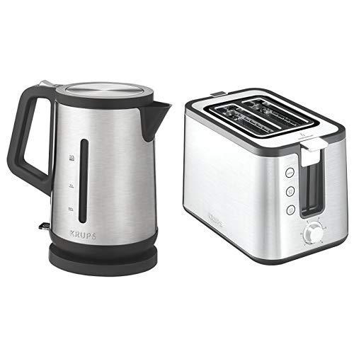 Krups BW442D Premium Wasserkocher Control Line, 1,7 L, 2,400 W, edelstahl/schwarz & KH442D10 Control Line Premium Toaster mit 6 Bräunungsstufen (720 Watt) edelstahl/schwarz
