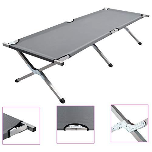 Lechnical Feldbett Campingbett belastbar max. statische Belastbarkeit leichtes Faltbares Bett Sonnenliege im Freien 190x74x47 cm XL Grau