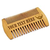 Custom Engraved Wooden Beard and Mustache Comb - Personalized Grooming Wood Brush Gift with Dual Action Teeth for Men, Guys, and Him