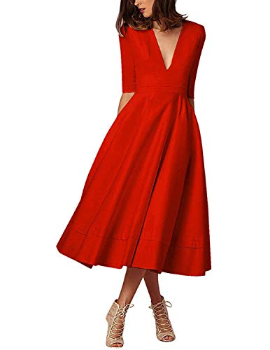 MODETREND Donna Elegante Vestiti Lunghi Collo Profondo V Manica 3/4 Vestito A Pieghe Skater Abito Maxi da Sera Cerimonia Autunno Inverno,Rosso,S