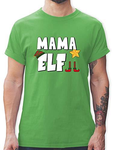 Weihnachten & Silvester - Partnerlook Elf Mama - S - Grün - Shirt Weihnachten Partnerlook - L190 - Tshirt Herren und Männer T-Shirts