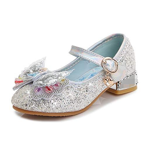STRDK Niña Princesa Zapatos Sandalias Elsa Reina de Nieve Disfraz Zapatos de Cristal a Juego Niños Baile Zapatos Tacones Altos Fiesta de Vestir Lentejuelas Arco Transparente Cosplay Fiesta Zapatos