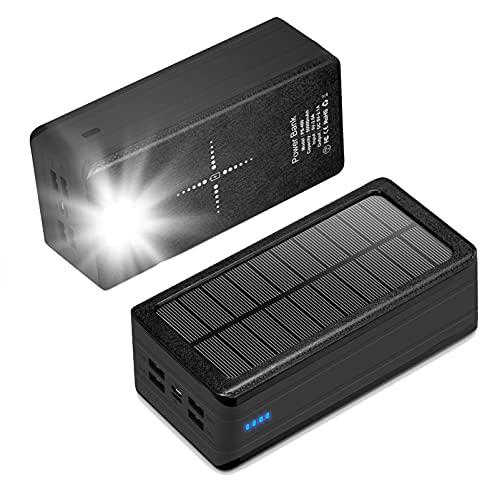 PWQ-01 Cargador Solar Móvil 30000mAh Batería Externa Portátil Qi Power Bank Solar Type-C & Micro Entrada, 5V / 2.1A USB Salidas Cargador Portatil PowerBank para Phones Tabletas Camping Y Exteriores