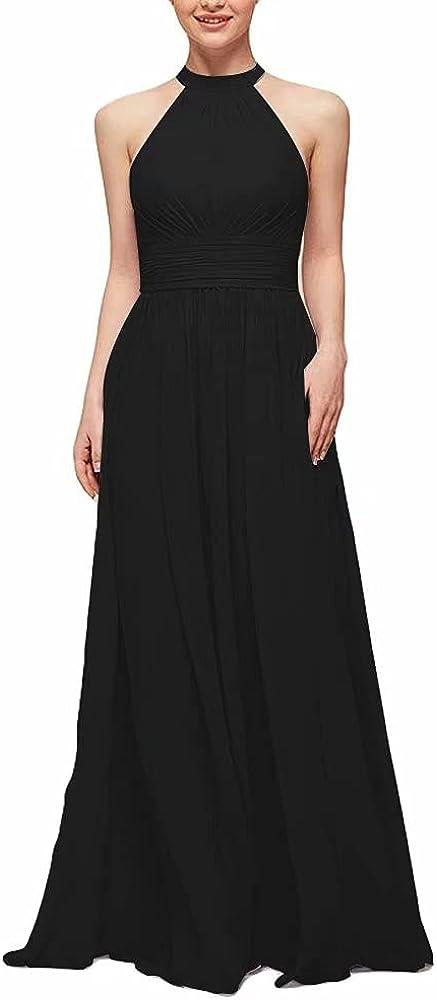 A-Line Chiffon Bridesmaid Dress Halter Floor Length Women Formal Evening Dresses