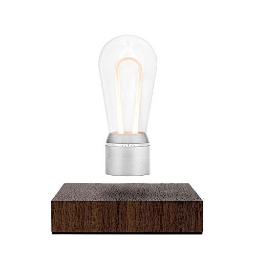 FLYTE Nikola Dekoleuchte mit LED-Lichtleiter, Chromfassung/Walnussholzbasis, schwebend per Induktion