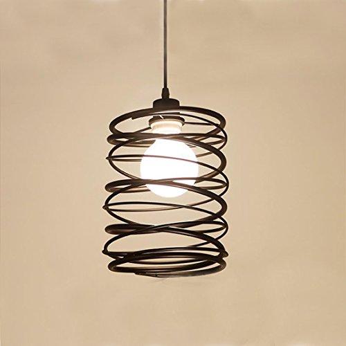 KJLARS metallo Lampada a sospensione Retro lampada a sospensione spirale Vintage lampada a sospensione rustico sospensione lampadine E27