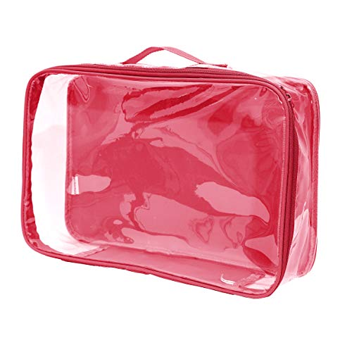 Large Clear Travel Packing Cube/See-Through PVC Organizer for Suitcase/Multipurpose Pouch w/Handle/Dress Shirts, Pants, Cashmere, Sweaters & Seasonal Linen Storage Protection (Burgundy)