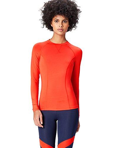 Activewear Camiseta Deporte Manga Larga Mujer, Rojo (Sport Red), 40 (Talla del Fabricante: Medium)