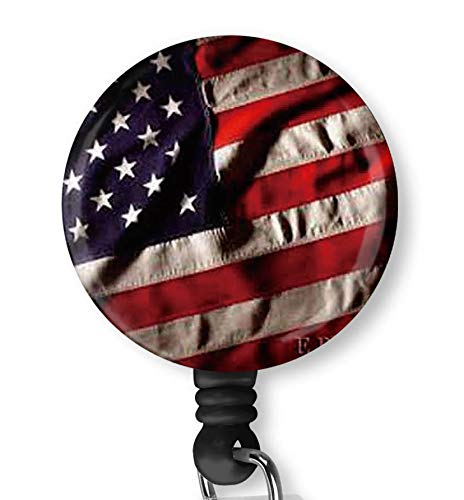 American Flag Retractable ID Card Badge Holder with Alligator Clip, Name Nurse Decorative Badge Reel Clip on Card Holders