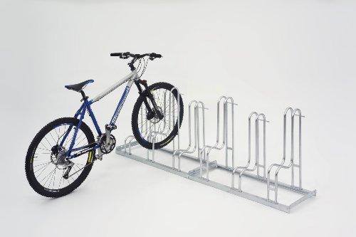 WSM Fahrradständer Bügelparker Reifenbr. bis 5,5 cm, Radabstand 35 cm, 6 Einstellplätze, verz. Stahl