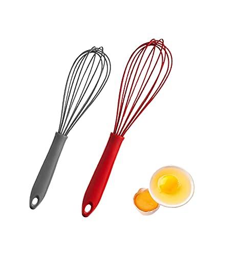 2 Pcs Frusta in Silicone, Frusta in Silicone, Agitatore in Silicone, Frusta Manuale, Utilizzata Nella Frusta da Cucina, Mescolare, Colore: Rosso e Grigio