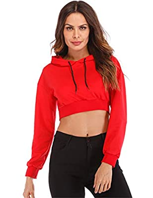 Hioinieiy Women's Summer Long Sleeve Crop Top Hoodie Workout Casual Cute Pullover Cropped Sweatshirt Red L