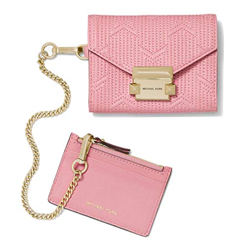 Michael Kors Whitney Small Quilted Leather Chain Wallet in Carnation