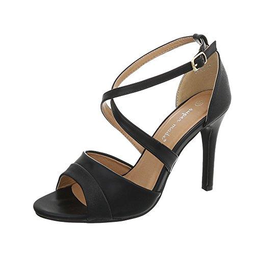 Ital Design High Heel Sandaletten Damen-Schuhe Pfennig-/Stilettoabsatz Heels Schnalle Sandalen & Schwarz, Gr 40, 8446-