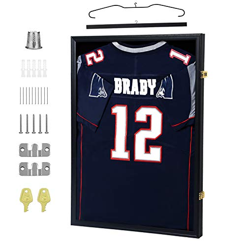 IHEIPYE Jersey Display Frame Case Lockable, Large Sport Jersey Shadow Box with 98% UV Protection Acrylic and Hanger for Baseball Basketball Football Soccer Hockey Shirt and Uniform,Black