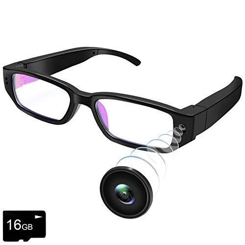 UYIKOO Mini Kamera Brille, 1080P HD Brillenkamera Videokamera Kleine Überwachungskamera mit 16GB Karte Video Foto und Tonaufnahme für Drinnen und Draußen