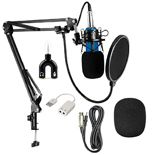 Corslet Microphone for Voice Recording Mike Gaming Mic For Singing Studio Bm 800 Condenser Pc Microphone Kit with Adjustable Scissor Arm Stand Pop Filter (Does Not Work with Mobile)