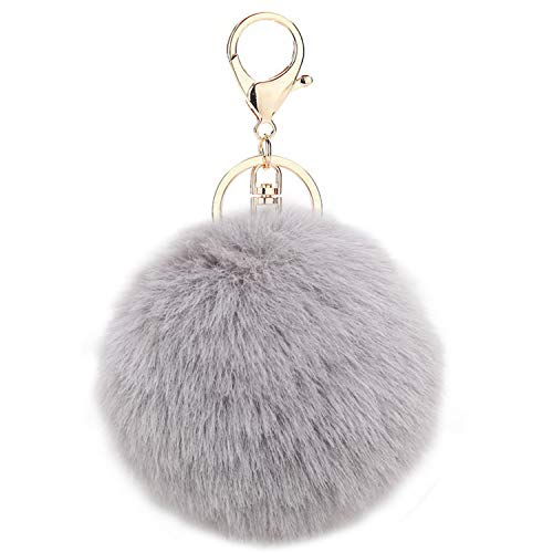 Auranso Pom Pom Fluffy Keyring Soft Plush Charm Ring Keyfob Faux Fur Balls Bag Pendant Keychain Decoration Grey