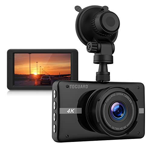 TOGUARD Cámara de Coche 4K Ultra HD Dash Cam 3' LCD Grande Ángulo de 170° Cámara para Coche, con Grabación en Bucle, Sensor G, Monitor de Estacionamiento
