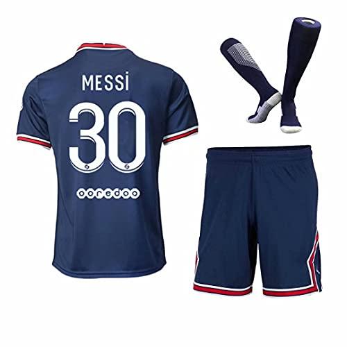 LJB Maillot de football pour homme et adolescent, 2021-2022#30 PSG, vêtement d'entraînement pour homme et enfant 21/22 (haut + short + chaussettes), bleu, XL