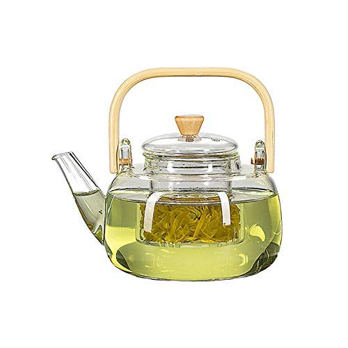 GWFVA 1000 ml Glas-Teekanne mit Glasaufguss, Teekanne mit Sieb für losen Tee, Safe auf dem Herd, Teekanne mit Bambusgriff