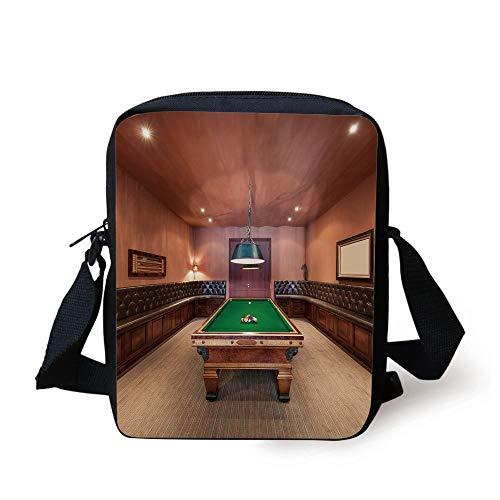 Modern Decor,Entertainment Room in Mansion Pool Table Billiard Lifestyle Photo Print,Cinnamon Brown Green Print Kids Crossbody Messenger Bag Purse