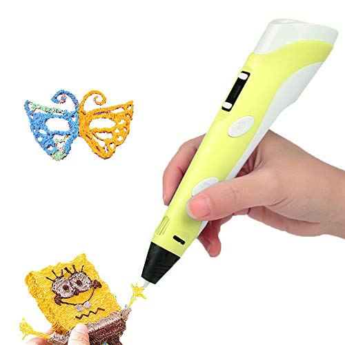 3D Printing Pen with LED Display, 3D Doodle Pens Start Kit with 3 Starter Colors of PLA Filament, Great Drawing Printer Pen Toy for Kids and Adults