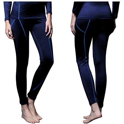 FITEXTREME Womens MAXHEAT Fleece Long Johns Thermal Underwear Bottom Navy L