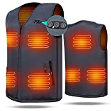 Heated Vest 7.4V Battery Electric Warm Vest Size Adjustable for Hiking Camping Black 7 Heating Zone