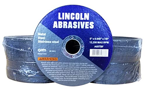 """100 Pack 5"""" x .040"""" x 7/8"""" Cut-Off-Wheel Lincoln Abrasives Metal & Stainless Steel"""