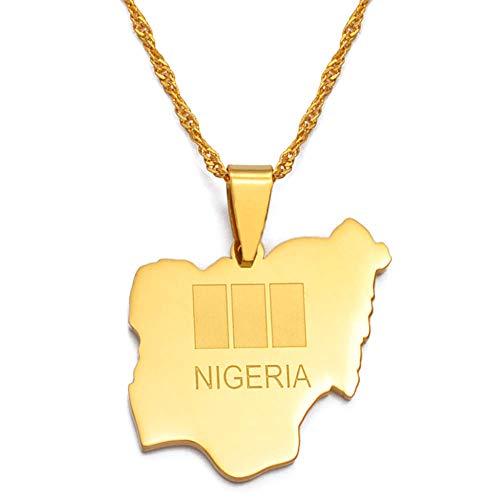 Nigeria Mapa Banderas Collares pendientes África Nigeria Mapa Bandera Joyería Amo mi país Navidad-60cm Cadena delgada