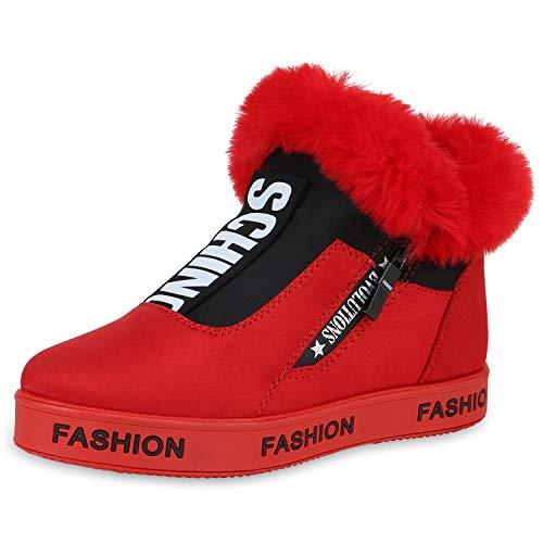 SCARPE VITA Damen Plateau Sneaker Warm Gefütterte Schuhe Kunstfell Turnschuhe 168993 Rot Prints Warm Gefüttert 40