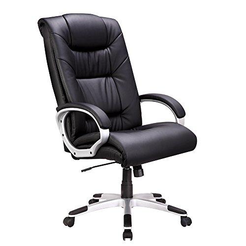IntimaTe WM HeartErgonomischer Chefsessel, Bürostuhl mit Hoher Rückenlehne, Verstellbarer Schreibtischstuhl aus Kunstleder mit Wippfunktion, Schwarz
