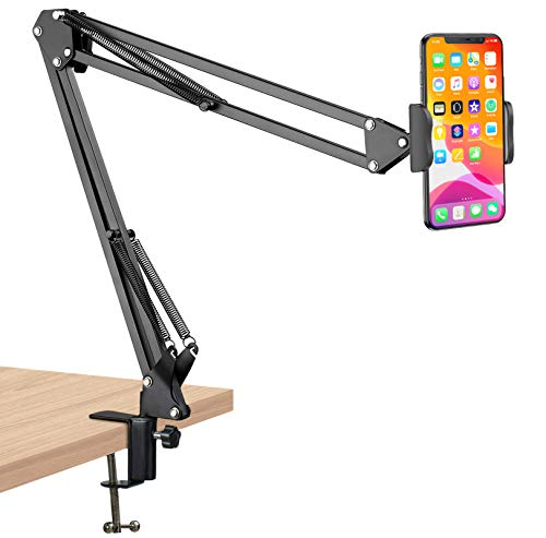 Cell Phone Holder, Phone Clip Holder Clamp for Desk,Universal Phone Stand Holder Mount Flexible 360° Rotation,Long Arm Bracket for 3.5-6.5in Phones Mobile Stand for Bed, Office, Kitchen