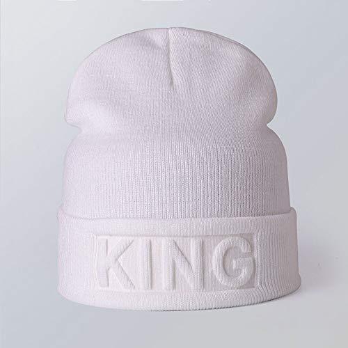 WAZHX Nuevo Sombrero De Punto Cálido Sombrero De Invierno Color Sólido Hip Hop Casual Hombres Mujeres Moda Gorros Pareja Calle Esquí Cráneo Bonnet Kingwhite